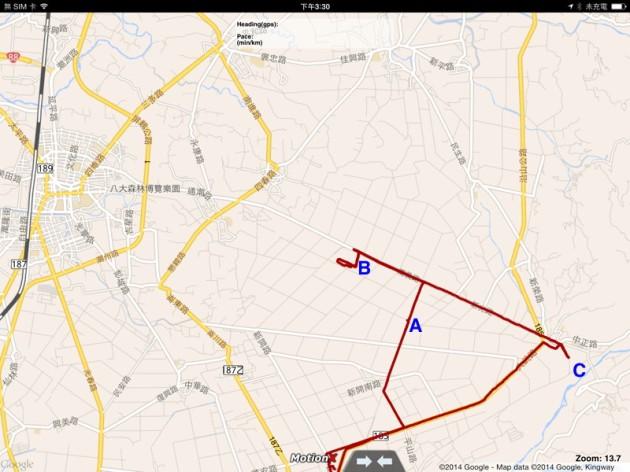 20140223 MotionX GPS HD track map(屏東縣新埤鄉及周邊)