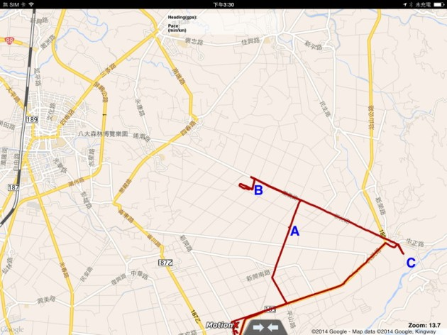 20140223 MotionX GPS HD track map(屏東縣新埤鄉及周邊)