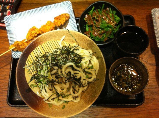 炸雞塊+沾麵(冷)+龍鬚菜@稻禾烏龍麵Inaka