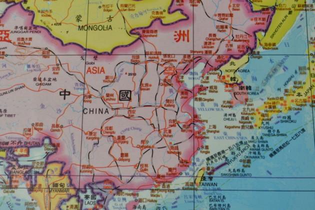 台灣中國一邊一國地圖@求真樓入口@文藻外語大學
