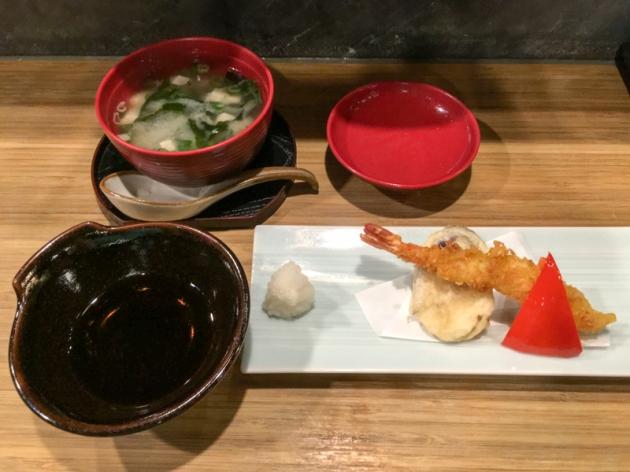 味噌湯+炸蝦